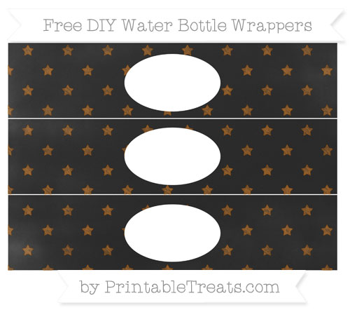 Free Brown Star Pattern Chalk Style DIY Water Bottle Wrappers
