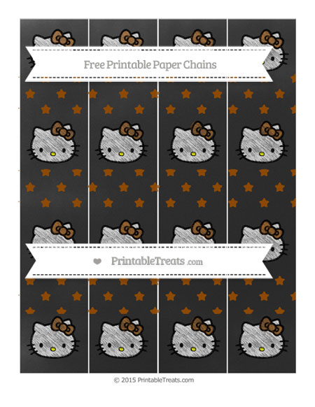 Free Brown Star Pattern Chalk Style Hello Kitty Paper Chains