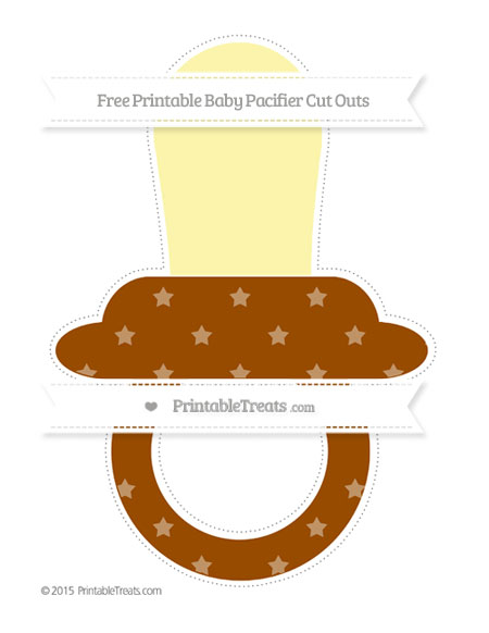Free Brown Star Pattern Extra Large Baby Pacifier Cut Outs