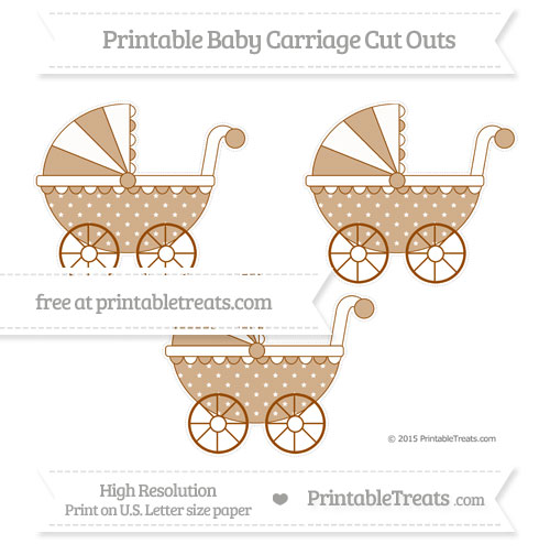 Free Brown Star Pattern Medium Baby Carriage Cut Outs