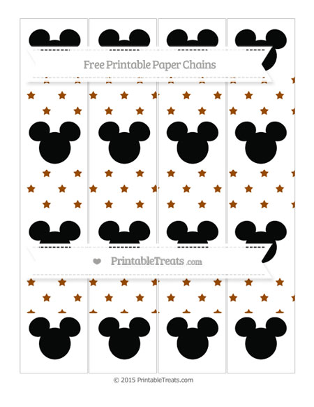 Free Brown Star Pattern Mickey Mouse Paper Chains