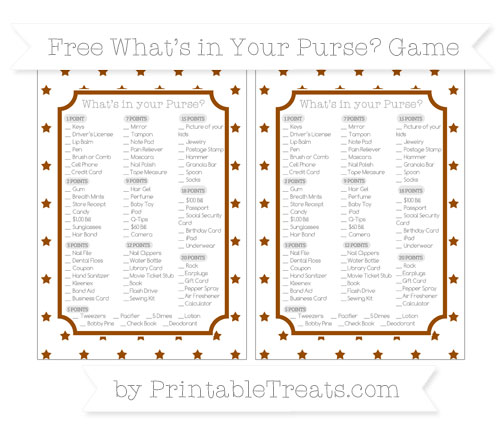 Free Brown Star Pattern What's in Your Purse Baby Shower Game