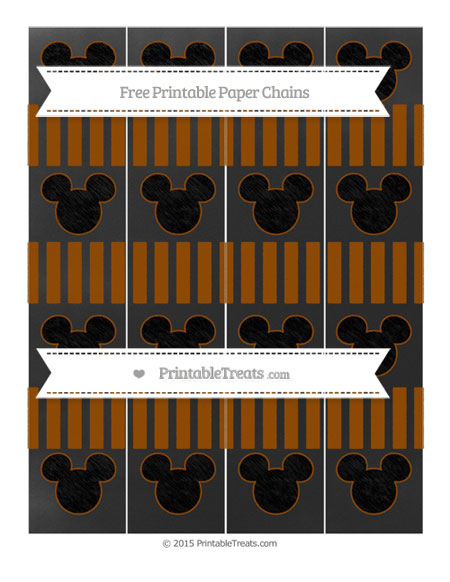 Free Brown Striped Chalk Style Mickey Mouse Paper Chains