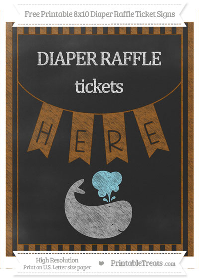 Free Brown Striped Chalk Style Whale 8x10 Diaper Raffle Ticket Sign