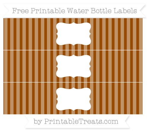 Free Brown Striped Water Bottle Labels