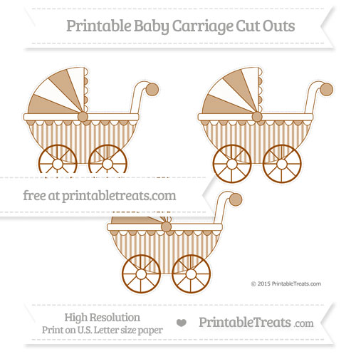 Free Brown Striped Medium Baby Carriage Cut Outs