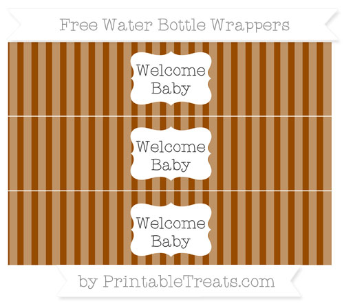 Free Brown Striped Welcome Baby Water Bottle Wrappers