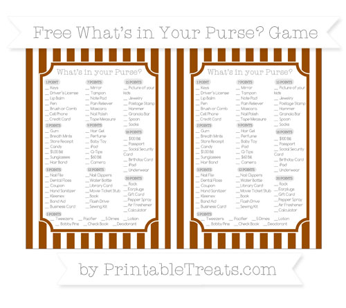 Free Brown Striped What's in Your Purse Baby Shower Game
