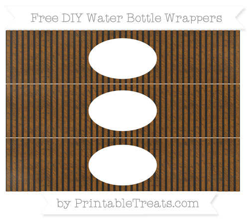 Free Brown Thin Striped Pattern Chalk Style DIY Water Bottle Wrappers