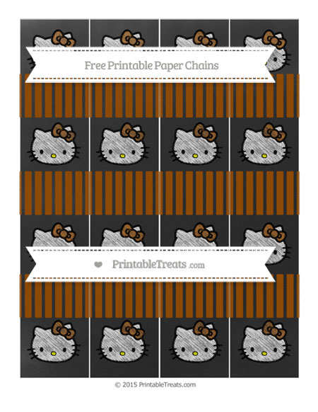 Free Brown Thin Striped Pattern Chalk Style Hello Kitty Paper Chains