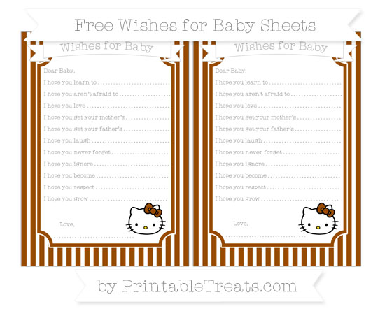 Free Brown Thin Striped Pattern Hello Kitty Wishes for Baby Sheets