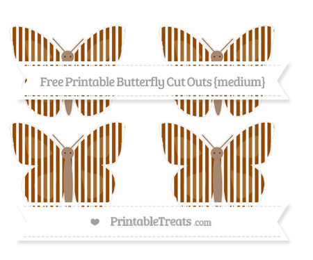 Free Brown Thin Striped Pattern Medium Butterfly Cut Outs