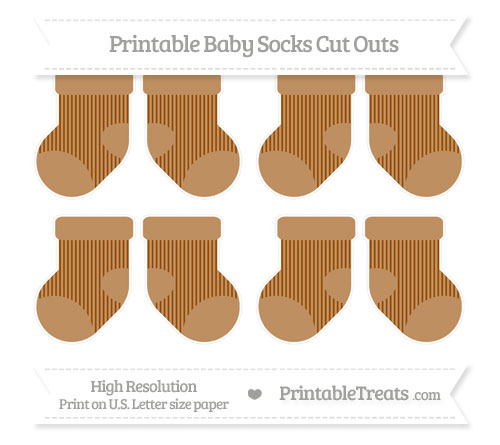 Free Brown Thin Striped Pattern Small Baby Socks Cut Outs