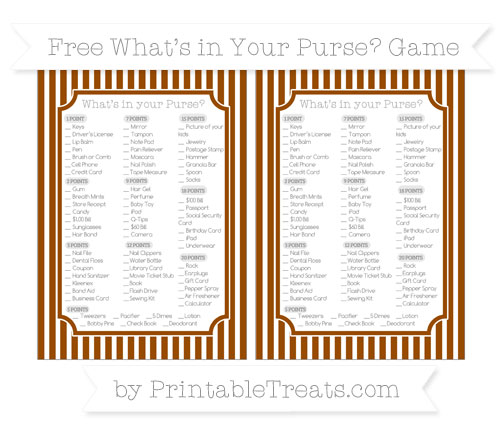 Free Brown Thin Striped Pattern What's in Your Purse Baby Shower Game