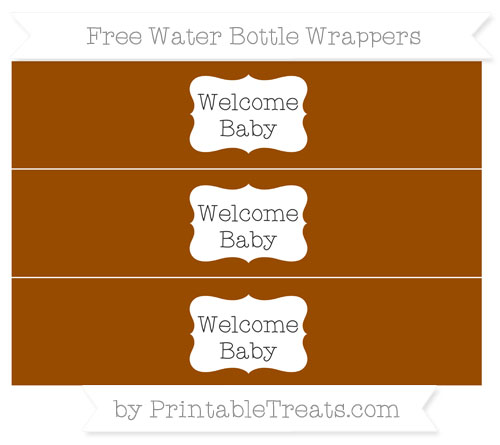 Free Brown Welcome Baby Water Bottle Wrappers