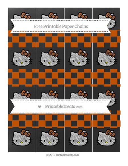 Free Burnt Orange Checker Pattern Chalk Style Hello Kitty Paper Chains