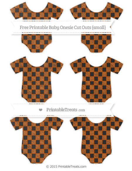 Free Burnt Orange Checker Pattern Chalk Style Small Baby Onesie Cut Outs