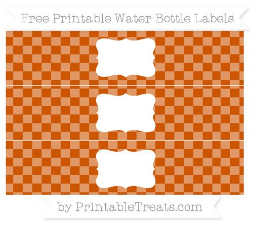 Free Burnt Orange Checker Pattern Water Bottle Labels