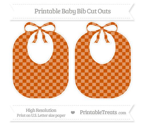Free Burnt Orange Checker Pattern Large Baby Bib Cut Outs