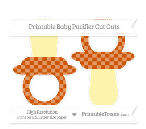 Free Burnt Orange Checker Pattern Large Baby Pacifier Cut Outs