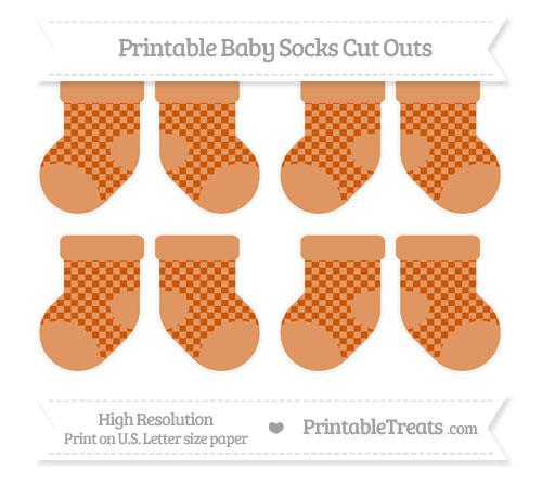 Free Burnt Orange Checker Pattern Small Baby Socks Cut Outs