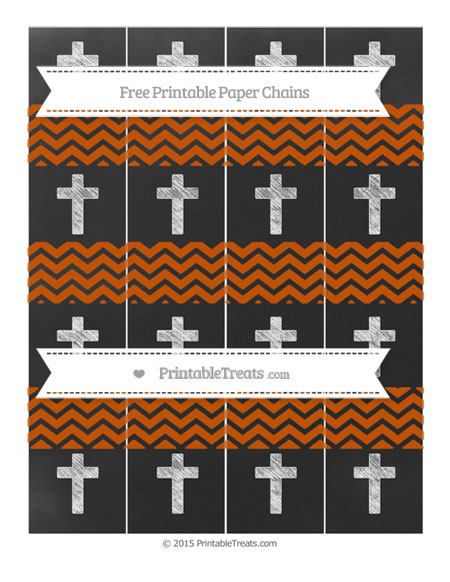 Free Burnt Orange Chevron Chalk Style Cross Paper Chains
