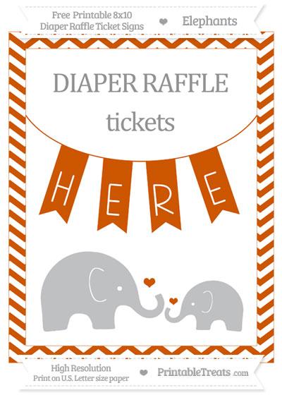 Free Burnt Orange Chevron Elephant 8x10 Diaper Raffle Ticket Sign