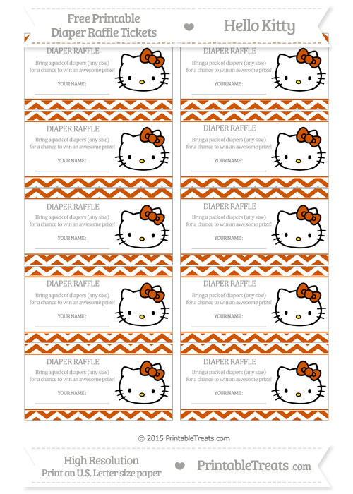 Free Burnt Orange Chevron Hello Kitty Diaper Raffle Tickets