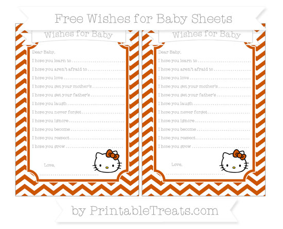 Free Burnt Orange Chevron Hello Kitty Wishes for Baby Sheets