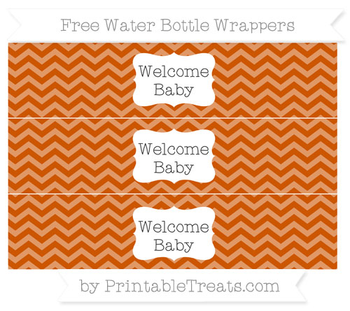 Free Burnt Orange Chevron Welcome Baby Water Bottle Wrappers
