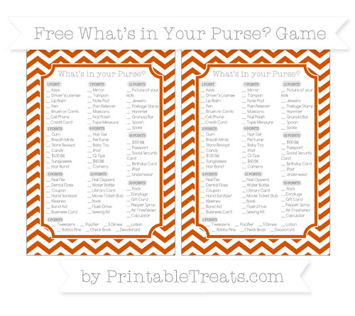 Free Burnt Orange Chevron What's in Your Purse Baby Shower Game