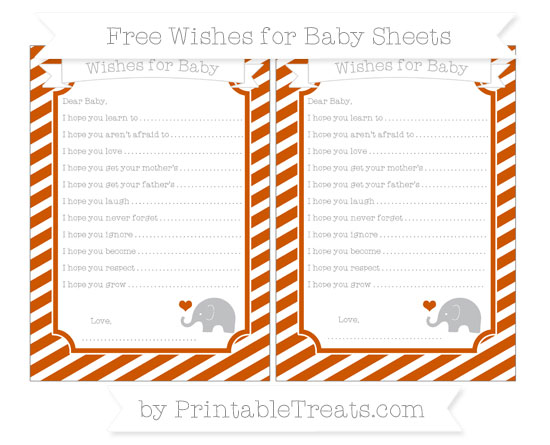 Free Burnt Orange Diagonal Striped Baby Elephant Wishes for Baby Sheets