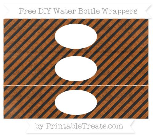 Free Burnt Orange Diagonal Striped Chalk Style DIY Water Bottle Wrappers