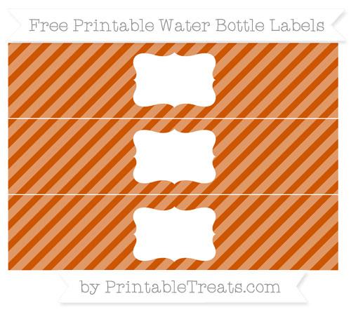 Free Burnt Orange Diagonal Striped Water Bottle Labels