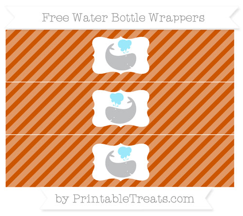 Free Burnt Orange Diagonal Striped Whale Water Bottle Wrappers