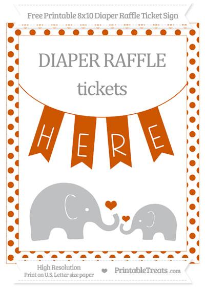 Free Burnt Orange Dotted Elephant 8x10 Diaper Raffle Ticket Sign