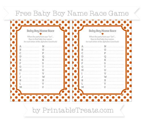 Free Burnt Orange Dotted Pattern Baby Boy Name Race Game