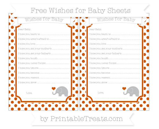 Free Burnt Orange Dotted Pattern Baby Elephant Wishes for Baby Sheets