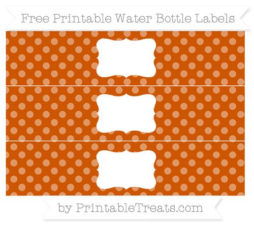 Free Burnt Orange Dotted Pattern Water Bottle Labels