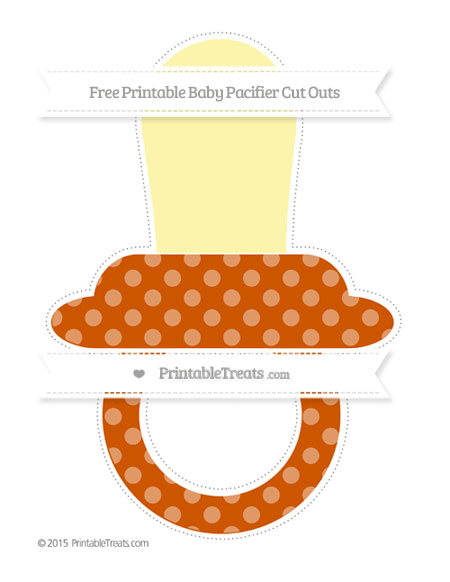 Free Burnt Orange Dotted Pattern Extra Large Baby Pacifier Cut Outs