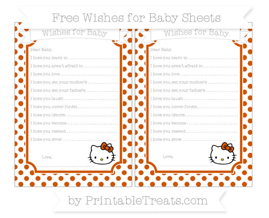 Free Burnt Orange Dotted Pattern Hello Kitty Wishes for Baby Sheets