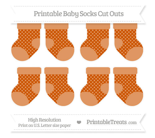 Free Burnt Orange Dotted Pattern Small Baby Socks Cut Outs