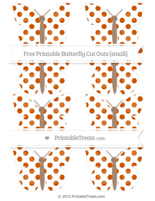 Free Burnt Orange Dotted Pattern Small Butterfly Cut Outs