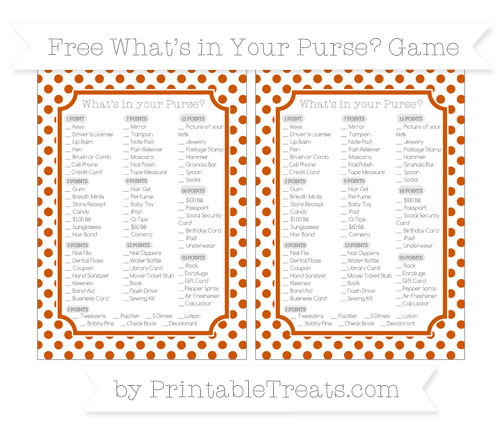 Free Burnt Orange Dotted Pattern What's in Your Purse Baby Shower Game