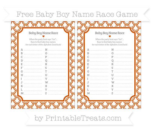 Free Burnt Orange Fish Scale Pattern Baby Boy Name Race Game