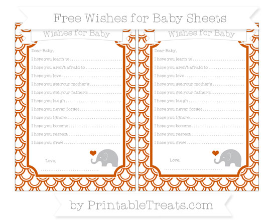 Free Burnt Orange Fish Scale Pattern Baby Elephant Wishes for Baby Sheets