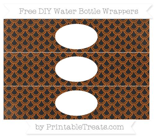 Free Burnt Orange Fish Scale Pattern Chalk Style DIY Water Bottle Wrappers