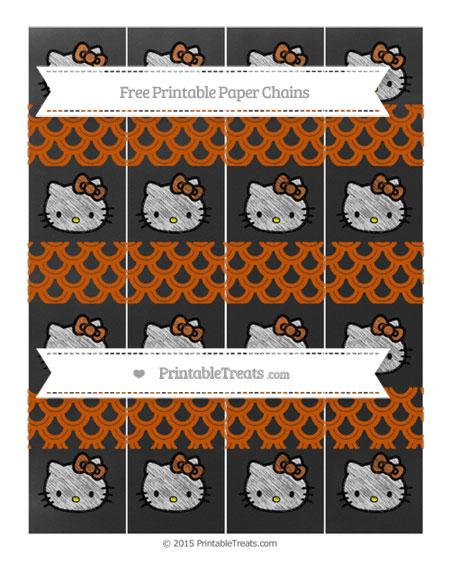 Free Burnt Orange Fish Scale Pattern Chalk Style Hello Kitty Paper Chains