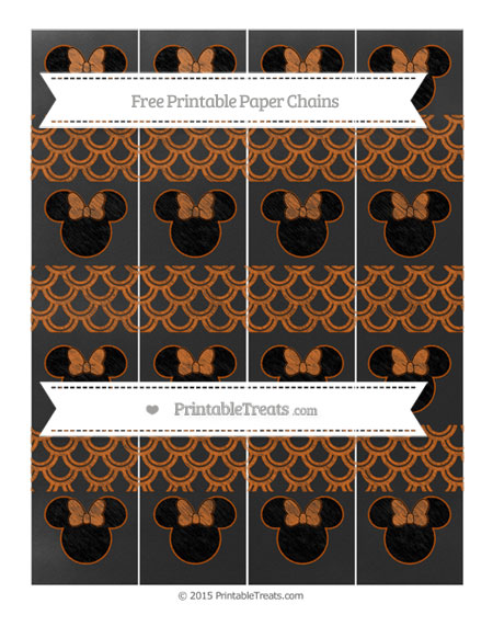 Free Burnt Orange Fish Scale Pattern Chalk Style Minnie Mouse Paper Chains