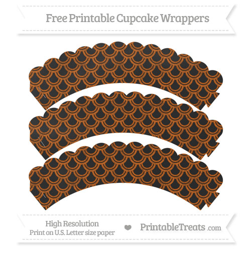 Free Burnt Orange Fish Scale Pattern Chalk Style Scalloped Cupcake Wrappers